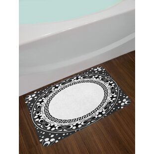 Ambesonne Greek Key Bath Mat by, Black and White Pattern of Spirals Swirls and Chains with Circle and Little Dots, Plush Bathroom Decor Mat with Non Slip Backing, 29.5 W X 17.5 W Inches, Black White