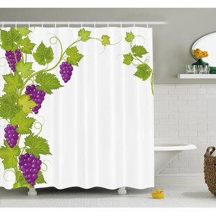Grapes Latin Brochure Label Italian Town Province Vintage Menu Sign Artwork Shower Curtain Set