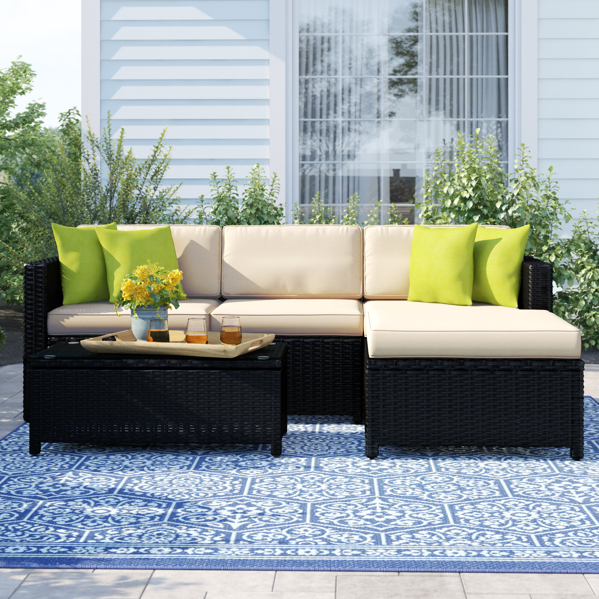 Carmelo 5 piece rattan sectional seating group with cushions reviews birch lane