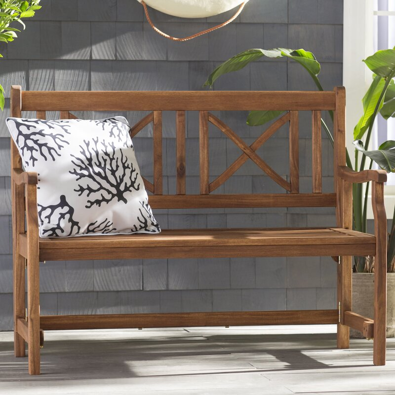 World Menagerie Conner Folding Acacia Wood Garden Bench & Reviews ...