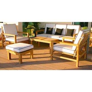 Bungalow Rose Cotter 5 Piece Sunbrella Sofa Set with Cushions