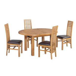 Uriah 5 Piece Extendable Solid Wood Dining Set