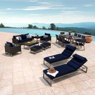 Gary 18 Piece Rattan Sunbrella Conversation Set with Cushions ByCorrigan Studio