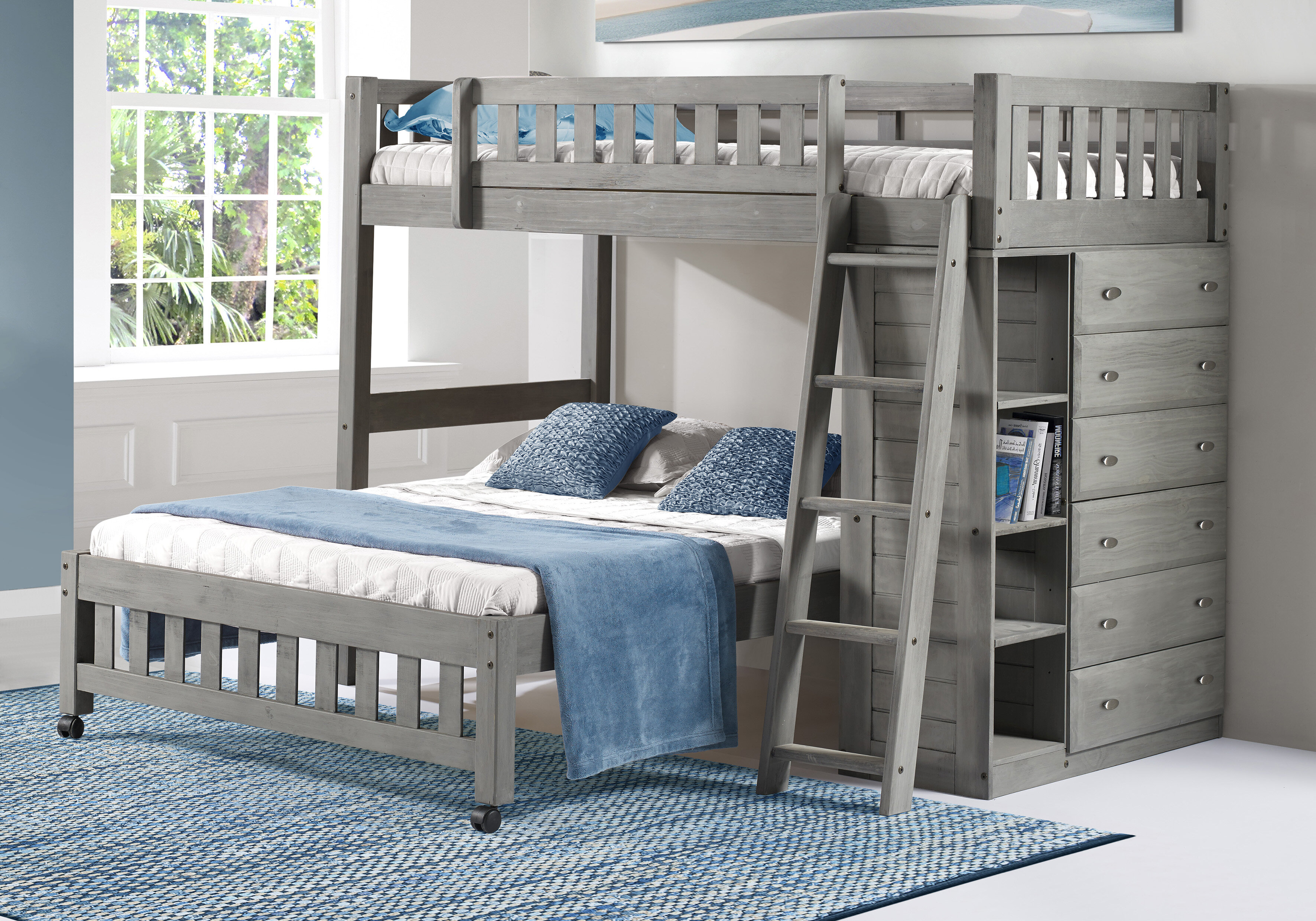 Greyleigh Orval Twin Over Full L-Shaped Bunk Bed with Drawers and ...