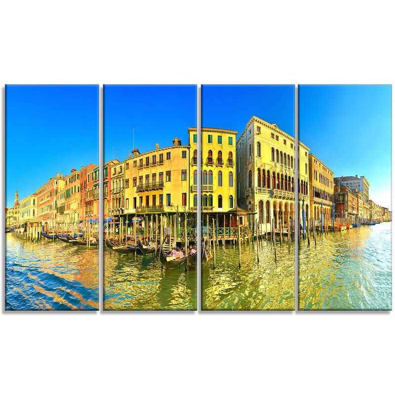 Designart Yellow Tinged Grand Canal Panorama 4 Piece Photographic Print On Wrapped Canvas Set Wayfair
