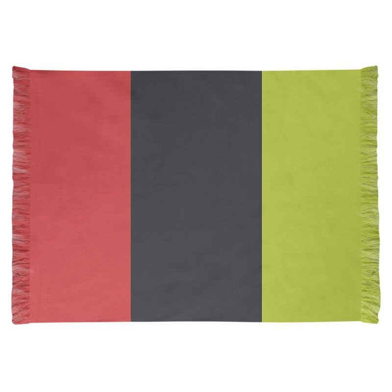 East Urban Home Striped 4 6 X 5 5 Red Charcoal Volt Green Area Rug Wayfair