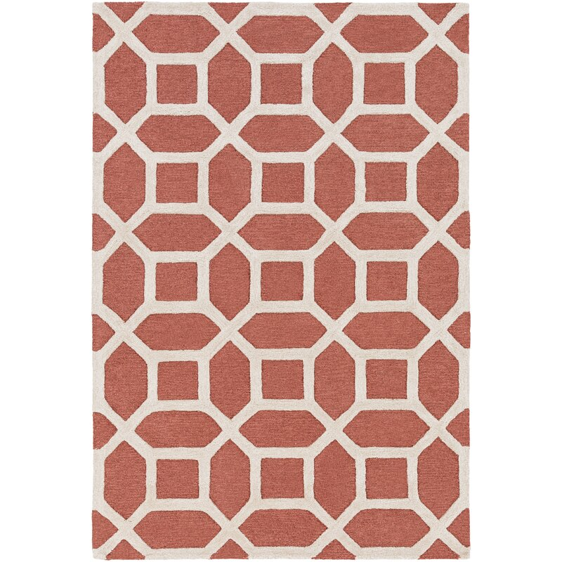 Wyble Geometric Handmade Tufted Wool Coral Area Rug Reviews Birch Lane