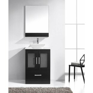 Mordecai 24 W Single Bathroom Vanity Set with White and Mirror ByOrren Ellis