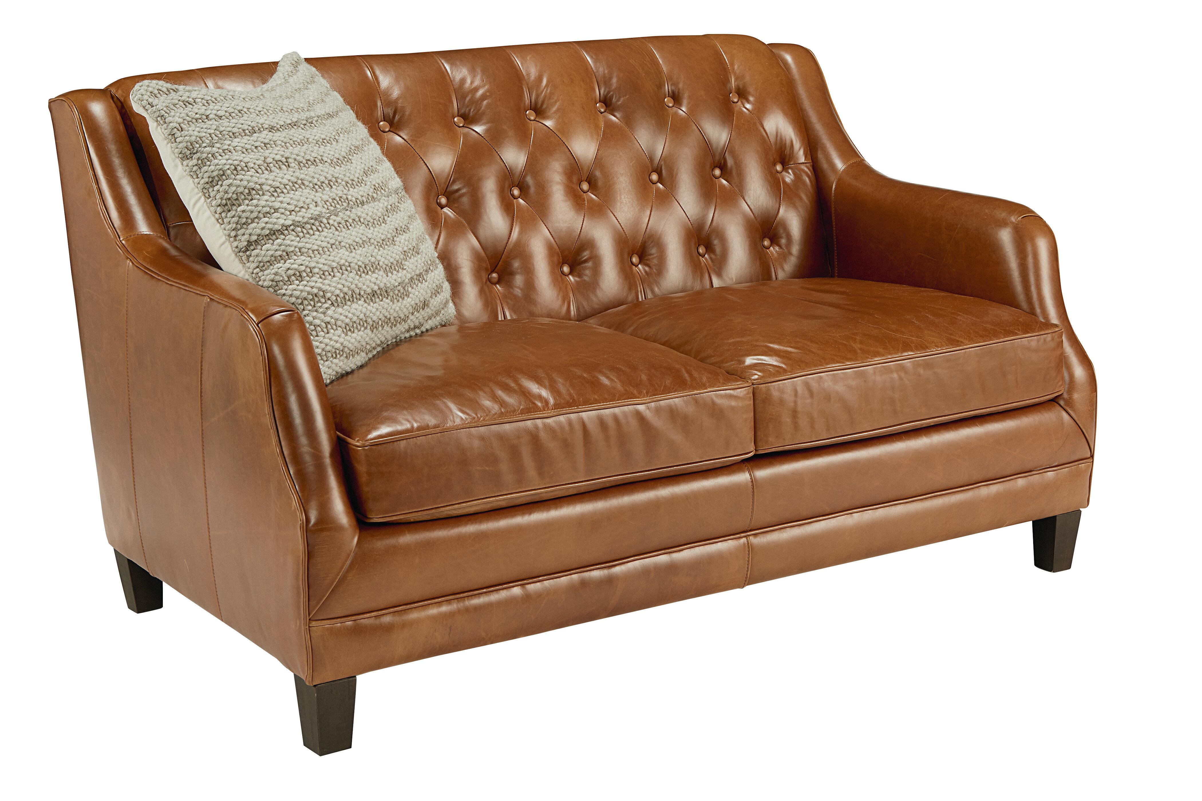 Magnolia Genuine Leather 37 Recessed Arm Loveseat Wayfair