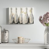 Drinks and Spirits Dom Marbles Champagne Bottles - Picture Frame Graphic Art Print on Canvas