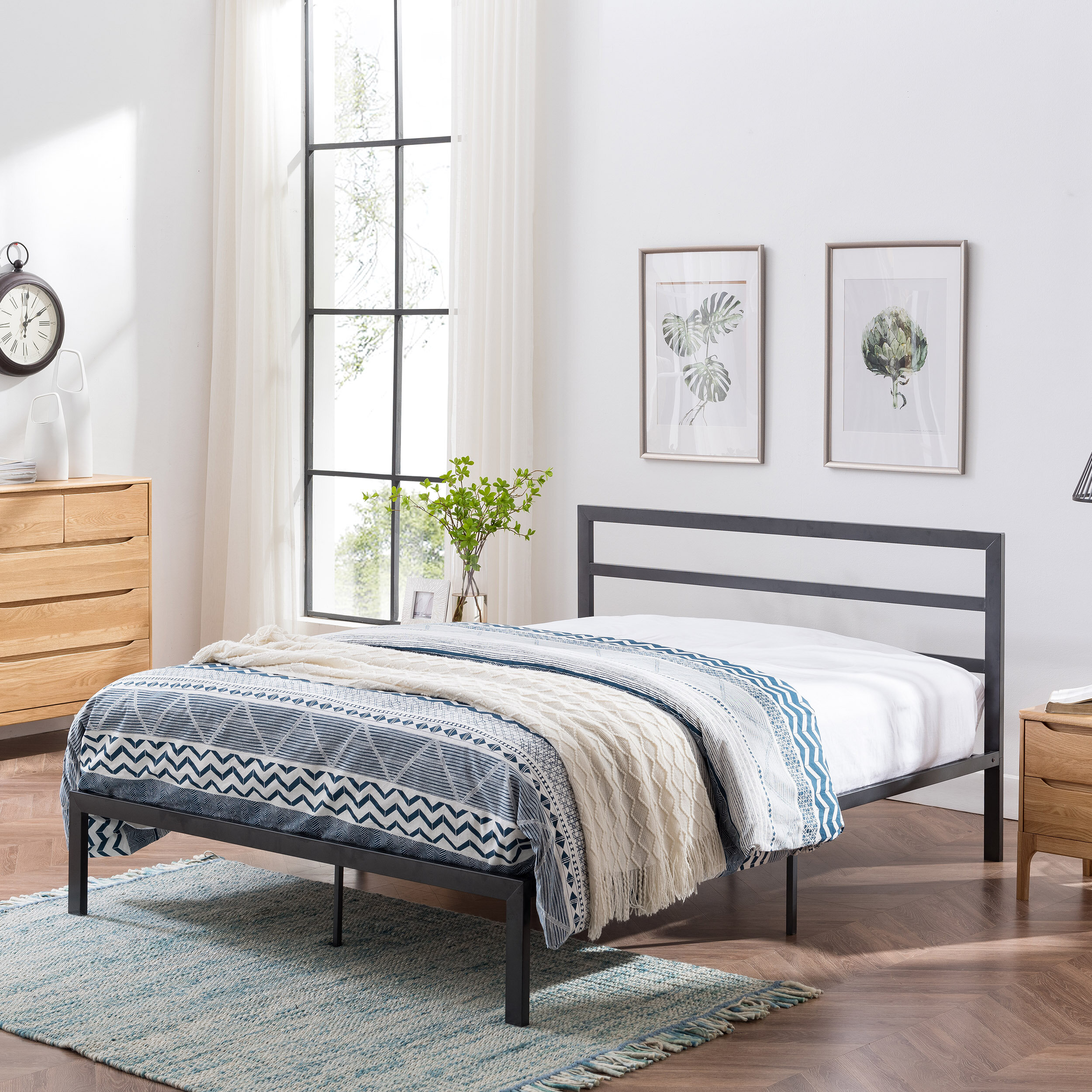 Alwyn Home Denver Modern Iron Bed Frame Reviews Wayfair