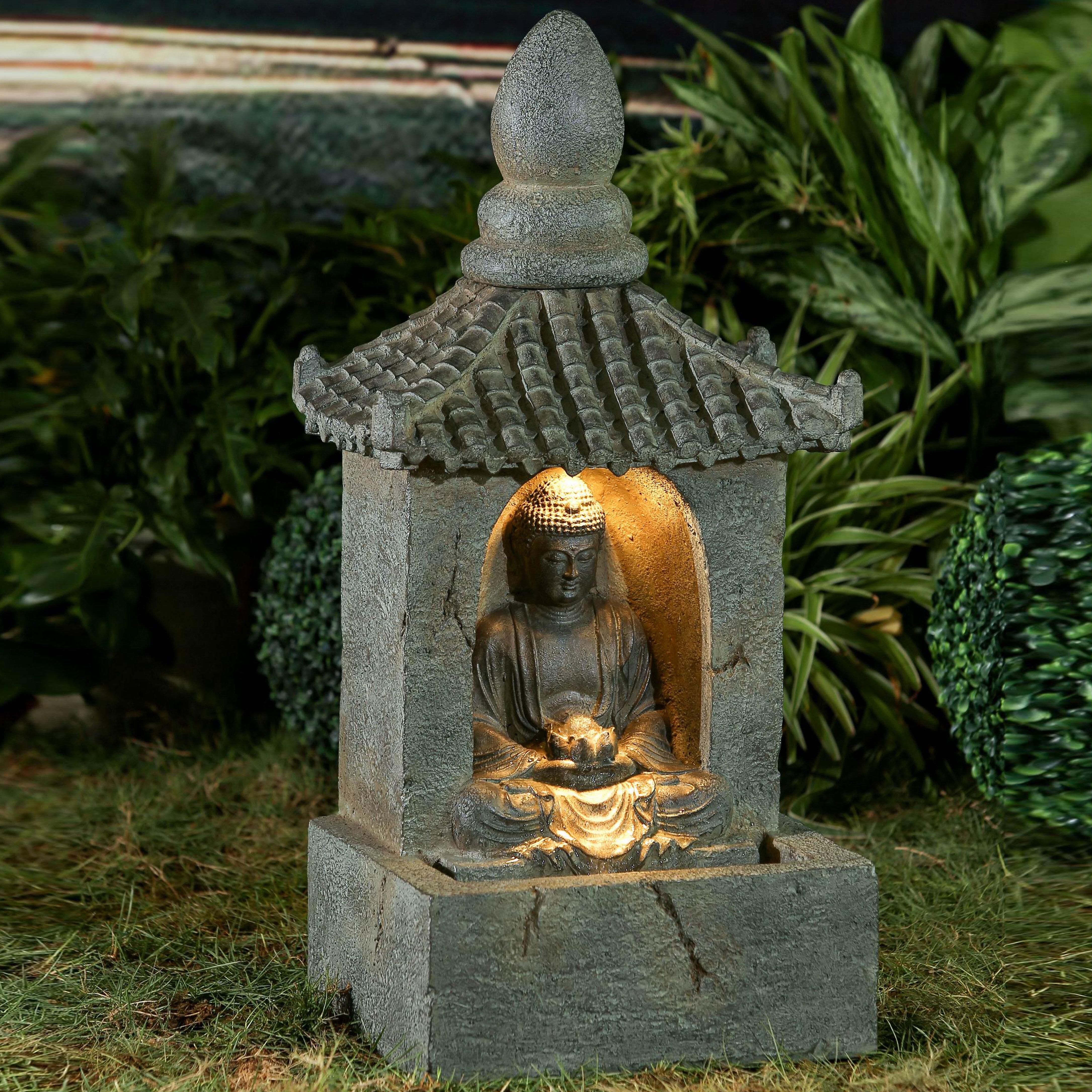 Jeco Inc Resin Fiberglass Buddha Water Fountain With Led Light Wayfair