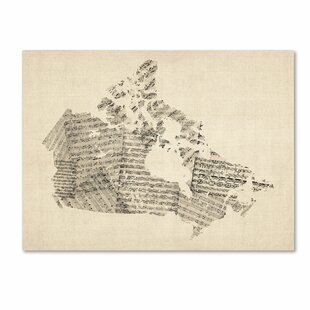 Canada map wall art youll love wayfair old sheet music map of canada by michael tompsett graphic art on wrapped canvas publicscrutiny Choice Image