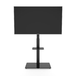 Promounts Black Swivel Floor Stand Mount for Screens with Shelving, Holds up to 88 Lb. lbs