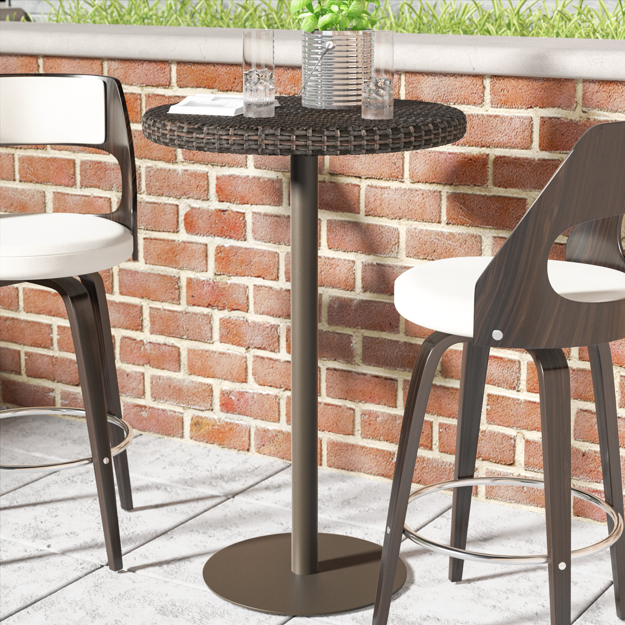 Ivy bronx crater contemporary outdoor bar table reviews wayfair