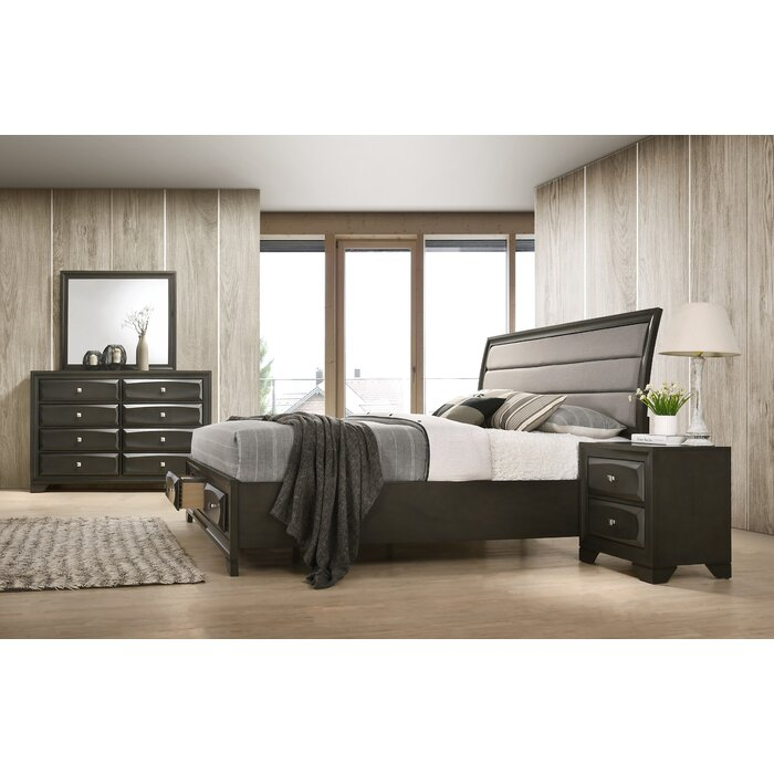 Asger Antique Grey Finish Wood Bedroom Set With Upholstered Queen Bed,  Dresser, Mirror,