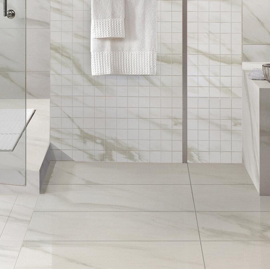 Full Polished Glazed White Calacatta Porcelain Tile In Matt Finish 12 X24