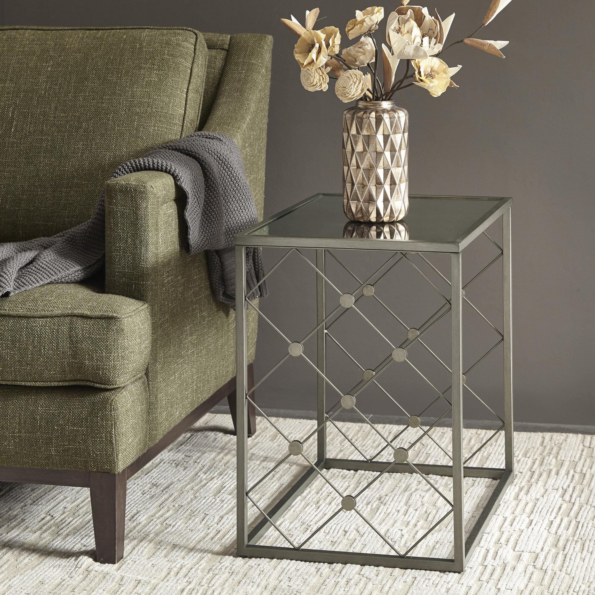 Martha Stewart Coyne Glass Top Frame End Table Wayfair