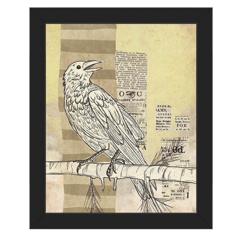 Click Wall Art \'Tabloid Bird Yellow\' Framed Graphic Art | Wayfair