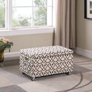 Winston Porter Beauregard Stencil Upholstered Storage Bench