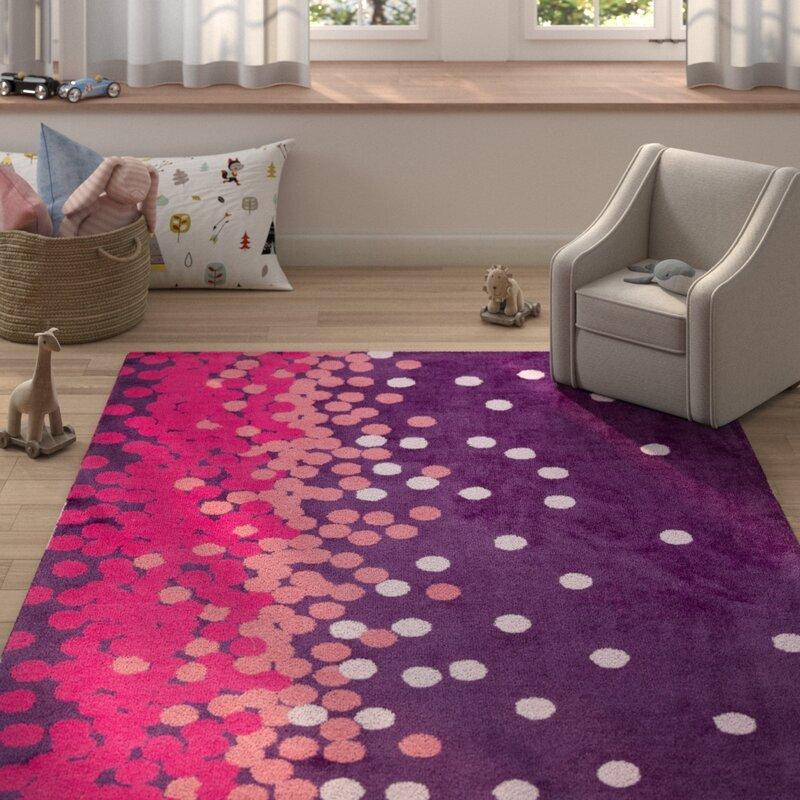 Harriet Bee Clive Polka Dots Purple Pink Area Rug Reviews Wayfair