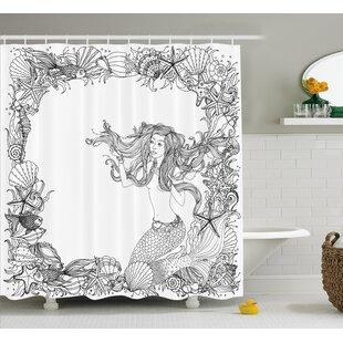 Best Reviews Mackenzie Seashells Mermaid Myth Shower Curtain ByZoomie Kids