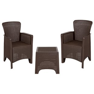 Khoury 3 Piece Rattan 2 Person Seating Group