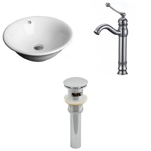 Review Ceramic Circular Vessel Bathroom Sink with Faucet and Overflow by American Imaginations