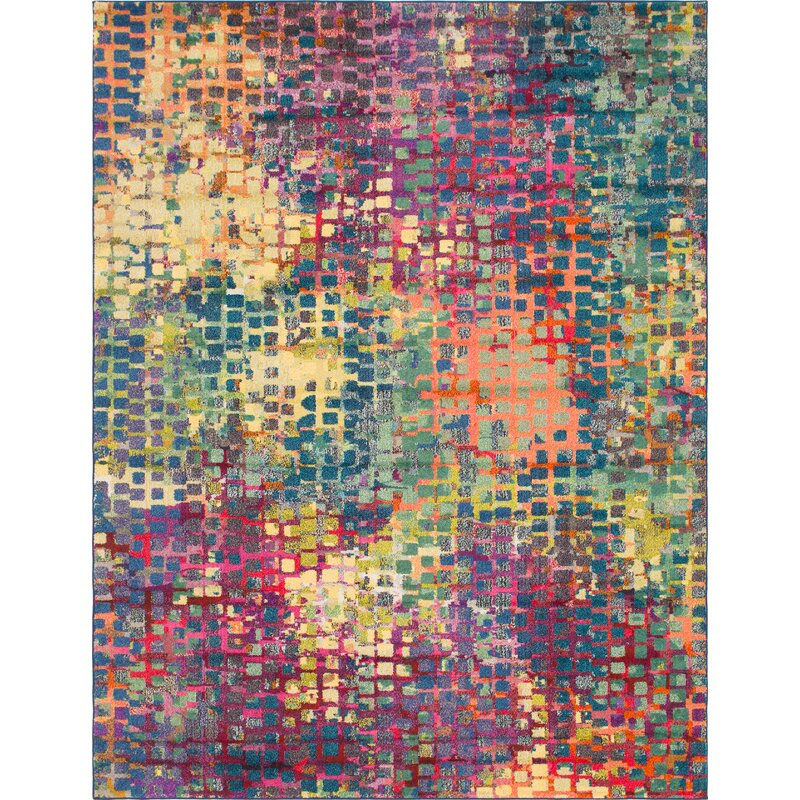 17 Stories Woonsocket Abstract Power Loom Yellow Green Area Rug Reviews Wayfair Ca