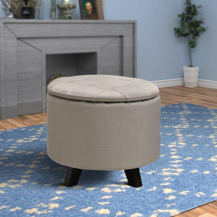 Stupendous Fabric Upholstered Wooden Ottoman With Tufted Top Grey And Black Inzonedesignstudio Interior Chair Design Inzonedesignstudiocom