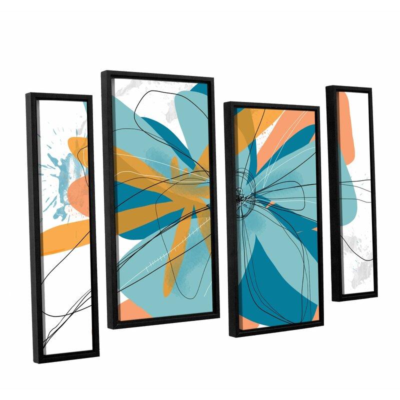 Latitude Run Orange Tango By Jan Weiss 4 Piece Framed Graphic Art On Canvas Set Wayfair
