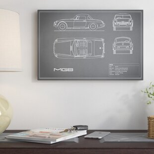 'MG MGB' Graphic Art Print on Canvas in Gray ByEast Urban Home