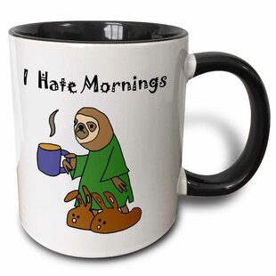 Funny Sloth in Nightgown and Bunny Slippers Hates Mornings Coffee Mug