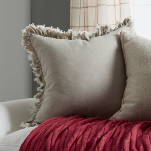 Leona Ruffled Linen Throw Pillow by Saro Today Sale Only