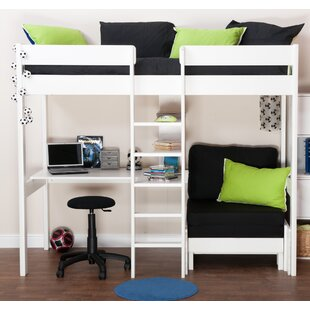 European Single High Sleeper Bed With Shelves And Desk By Stompa