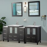Karson Modern 72 Double Bathroom Vanity Set with Mirror by Wade Logan®