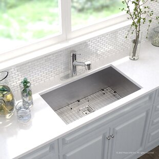 Pax™ Zero-Radius 16 Gauge Stainless Steel 31.5 x 18.5 Undermount Kitchen Sink with Faucet