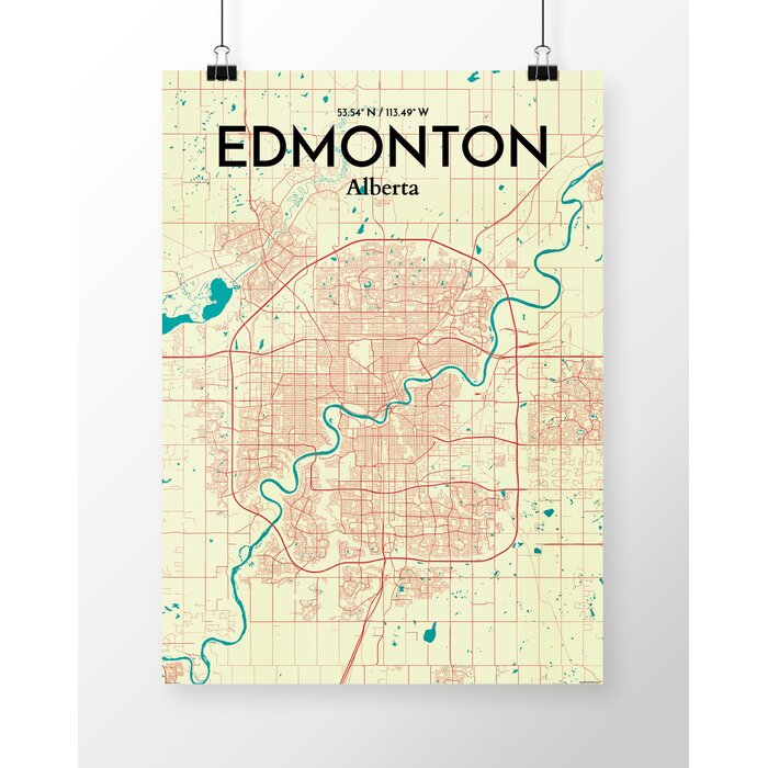 Ourposter edmonton city map graphic art print poster in edmonton city map graphic art print poster in tricolor gumiabroncs Choice Image