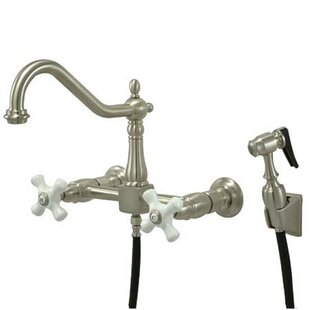 Kingston Brass Heritage Double Handle Widespread Wall Mount Kitchen Faucet with Wall Mounted Side Spray