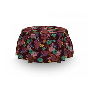 Flora Leafage Ottoman Slipcover (Set Of 2) By East Urban Home