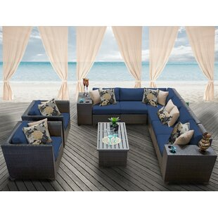 TK Classics Barbados 11 Piece Rattan Sectional Set with Cushions