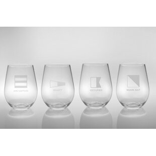 Life At Sea 4 Piece 16 Oz. Plastic Stemless Wine Glass (Set Of 4) By Rolf Glass
