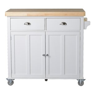 Clarendon Kitchen Island with Wood Top