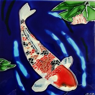 Koi Fish Blue Background Tile Wall Decor