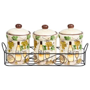 Grape Ceramic 4 Piece Jar Set by Lorren Home Trends Purchase