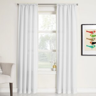 Cy Solid Sheer Rod Pocket Single Curtain Panel by Charlton Home