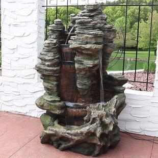 Loon Peak Waddell Polyresin Flat Rock Summit Outdoor Waterfall Fountain