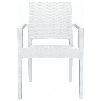 Brayden Studio Kesler Stacking Patio Dining Chair (Set of 2) Color: White