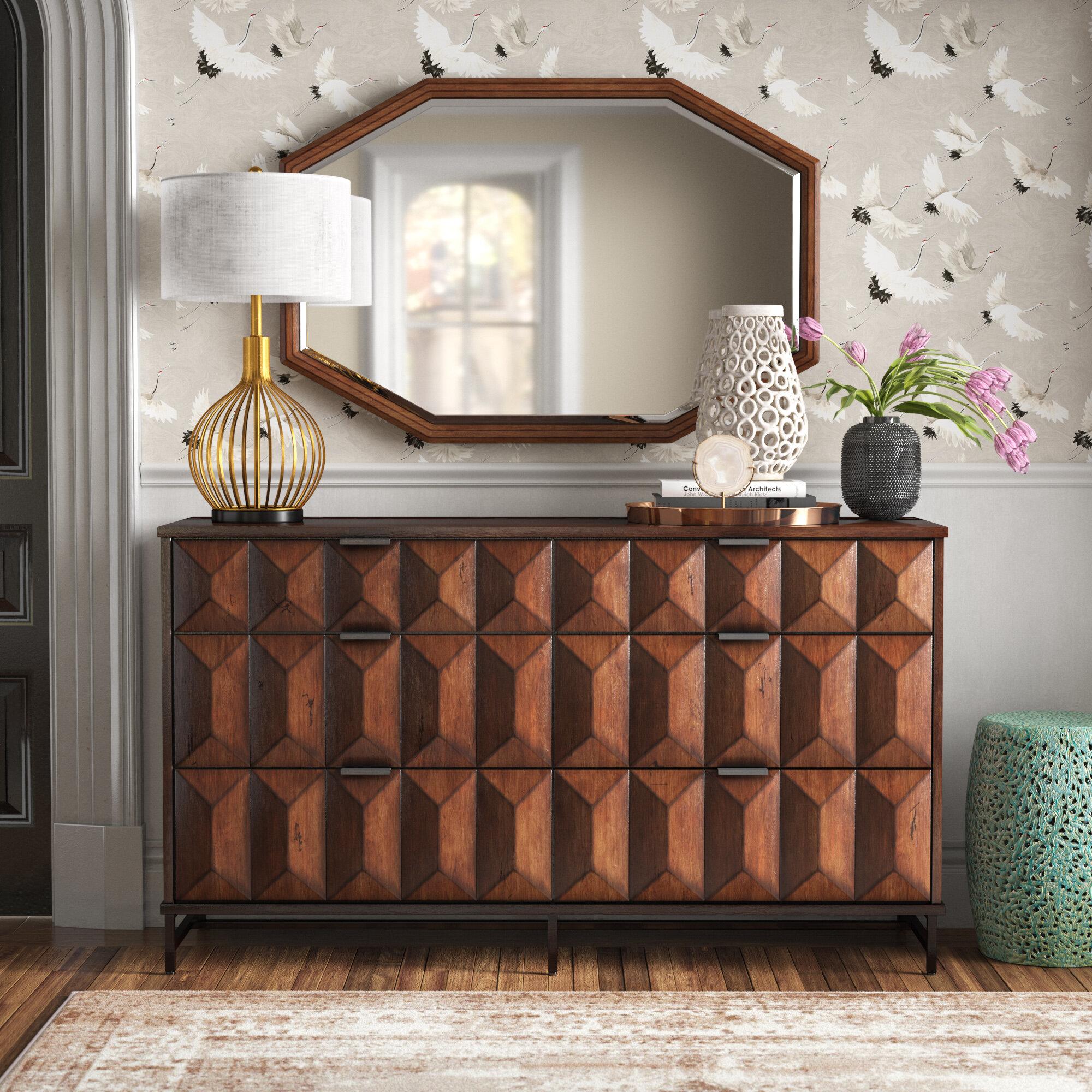 Lamberta 6 Drawer Double Dresser With Mirror Reviews Joss Main