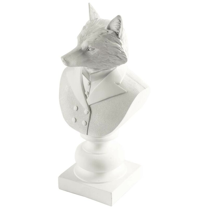 Fox White Resin Bust